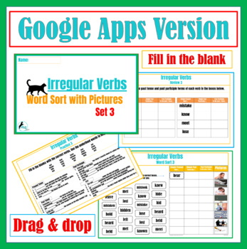 Irregular Verbs Word Sort #3 with Pictures and Cloze Review Questions