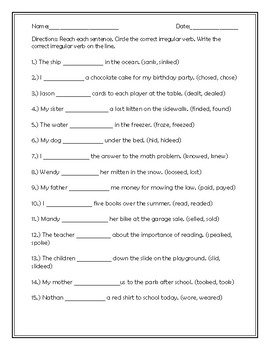 Irregular Verbs #2