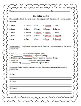 Irregular Verbs Worksheet or Quiz