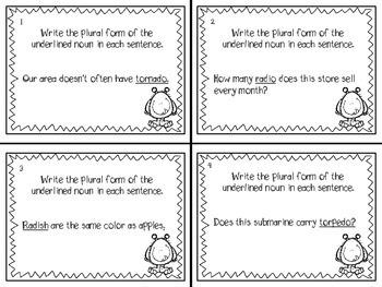 Irregular Verbs and Plural Nouns task cards