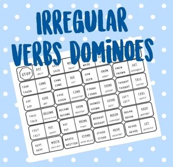 Irregular Verbs dominoes (Spanish translation) EDITABLE