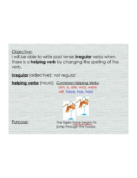 Irregular Verbs in the Past Tense (with helping verbs)