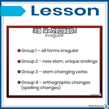 Preterite Tense Irregular Verbs PowerPoint Lesson/Practice/Guided Notes