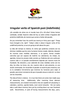 Irregular Verbs of the Spanish Past