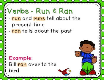 Irregular Verbs - (run, come, see, go)- Read the Room, Center, and Mimio Combo