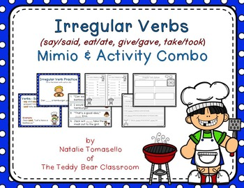 Irregular Verbs - (say, eat, give, take)- Read the Room, Center, and Mimio Combo