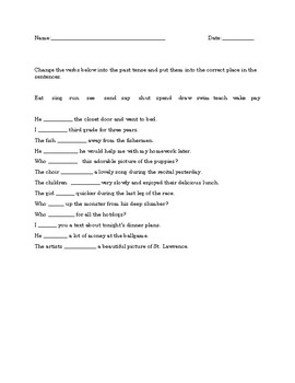 Irregular Verbs worksheet/test with answers
