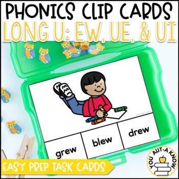 Irregular Vowel {Long U}: EW, UE, and UI Clip Cards