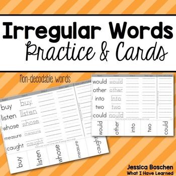 Irregular Words Practice Homework and Cards