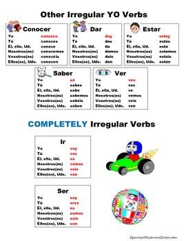 Spanish Irregular YO Verbs Conjugations Notes