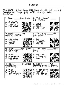 Irregular and Regular Past Tense Verbs QR Code Worksheets