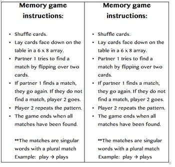 Irregular and Regular Plural Memory Game