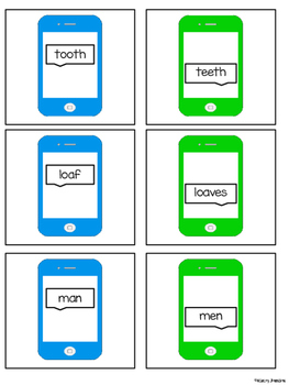 Irregular and Singular Plural Noun Texting Activity
