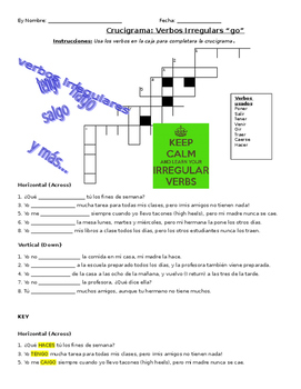 "Irregular ""go"" verbs crossword puzzle"