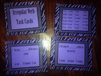 Irregular (past tense) Verbs Task Cards- PRE-MADE & READY TO USE