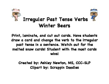 Irregular Past Tense Verbs Winter Bears By Ashley Newton Tpt
