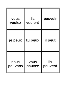 Irregular present tense in French Spoons game / Uno game