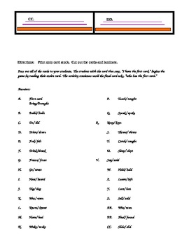 Irregular spelled past tense verbs- I have/ Who has... card sets