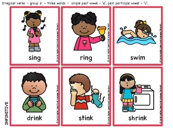 Irregular verb cards