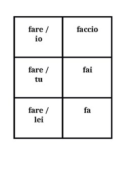 Irregular verbs Presente (Present tense in Italian) Concentration games