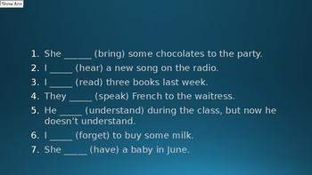 Irregular verbs, regular verbs and pronunciation and past tense.