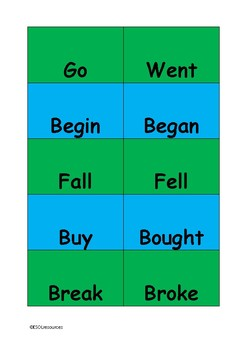 Irregular verbs matching cards