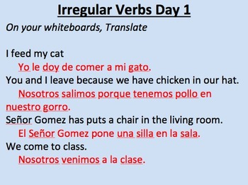 Irregular yo verbs (Dar, Decir, Poner, Salir, Traer, Venir)__Present Tense