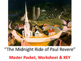 Irving ~ Midnight Ride of Paul Revere 11 page Common Core MASTER PACKET & KEY