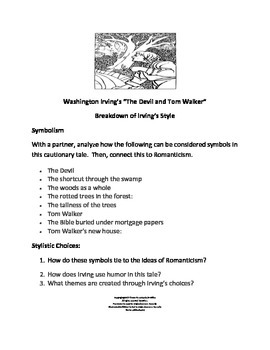 """Irving's """"The Devil and Tom Walker"""" Inference and Style Activities"""