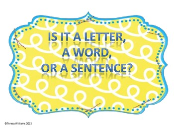 Is It A Letter, Word, or Sentence?