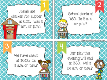 Is It A.M. or P.M.? Time Word Problem Task Cards - Back to School Themed