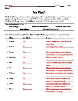 Is It Alive, Characteristics of Life Worksheet