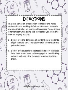 Is It Matter? Card Sort