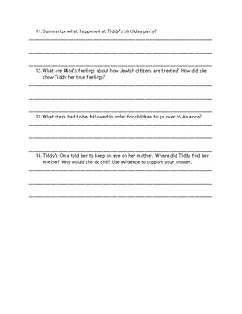 Is It Night or Day: Chapter-by-Chapter Comprehension Questions