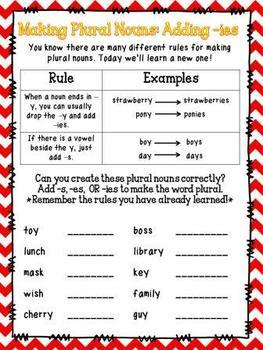 Singular Nouns and Plural Nouns Resource Pack