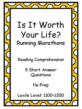 Is It Worth Your Life? Running Marathons - Reading Comprehension - Middle/High