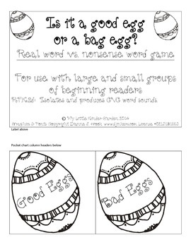 Is It a Good Egg or A Bad Egg?  Real vs. Nonsense word game, Easter/spring/eggs