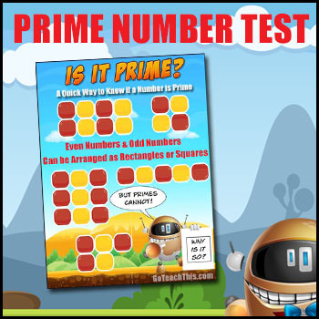 Is One a Prime Number? - A Test for Prime Numbers - 3 Posters for Your Math Wall