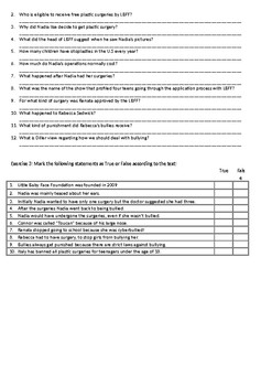 Is Plastic Surgery the Answer to Bullying - Reading Comprehension Worksheet
