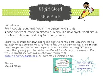 Is Sight Word Mini Book Preview