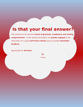 Is That Your Final Answer? (Listening and Speaking Activity)