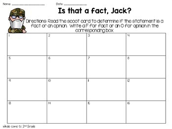 Is That a Fact, Jack? Fact and Opinion Scoot with QR Codes