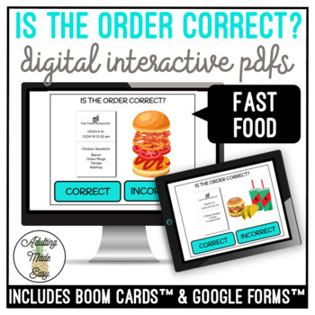 Is The Order Correct? Fast Food Vocational Digital Activity
