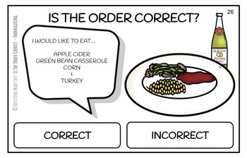 Is The Order Correct? Thanksgiving Dinner - Large Task Cards