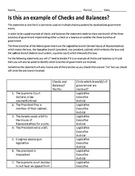 Is This An Example of Checks and Balances? Worksheet with ...