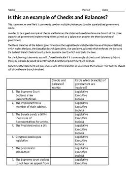 Checks And Balances Worksheet   Teachers Pay Teachers