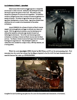 Is a Civilization Civilized - Apocalypto Assignment