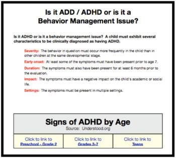 Is it ADHD?  A FREE Checklist of Signs and Symptoms