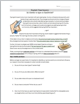Is it Better to Type or Handwrite? An English Class Activity