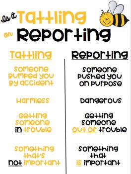 Is it Tattling or Reporting Bumblebee Bee Themed Freebie
